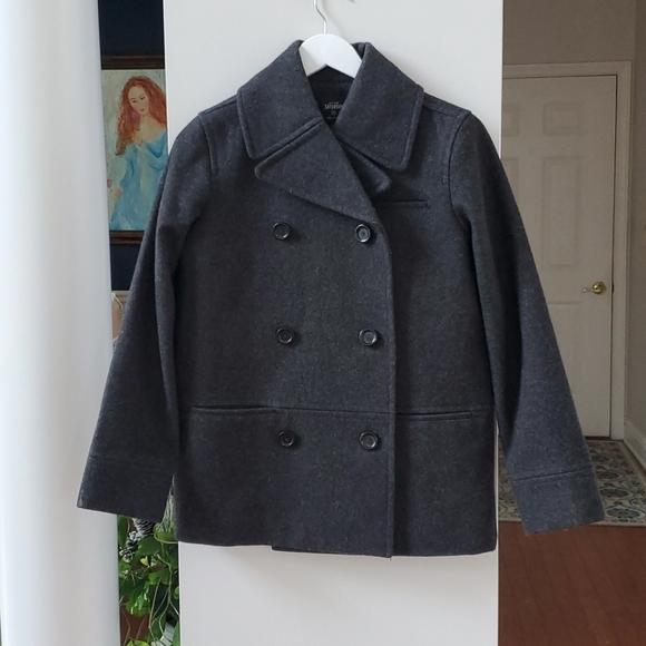 Kate Spade Saturday Grey Wool Pea Coat